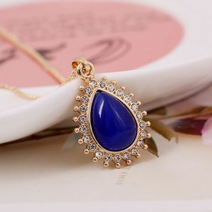 Europe And American Popular Style Elegant Keep Color Gold Plated Opal Necklace