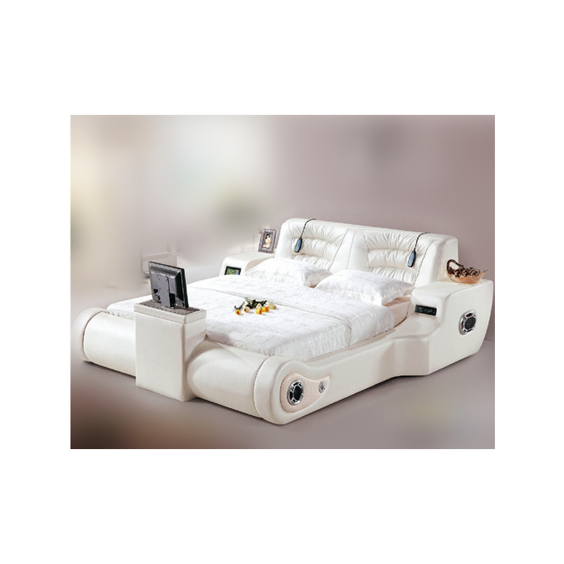 Modern Bedroom Furniture Multifunctional Massage Leather Bed With TV