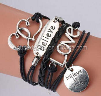 2017 Hot Boys S Love Believe Jewelry Leather Bracelet Diy Letter Engraved