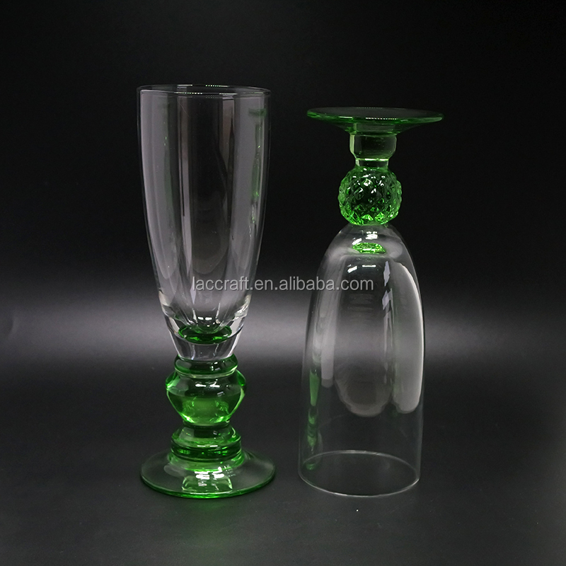 Tableware Colored Glass Goblet Green Unique Crystal Wine Glass 300ML