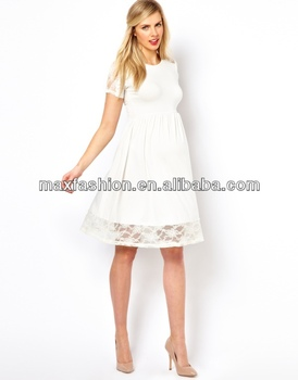 bd4d923f1802f Maternity white dress with lace york, short sleeve mini dress,pregnancy  dress
