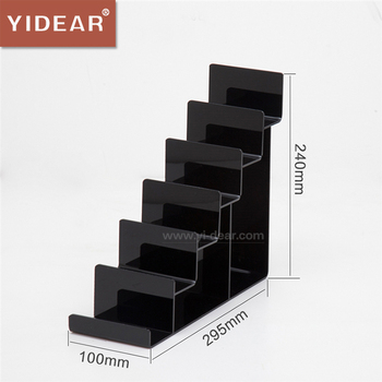 Black Acrylic 6 Tier Wallet Display Stand Holder Leather Handbag