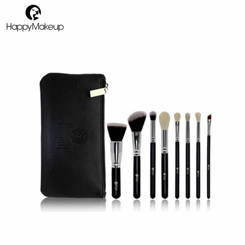 Free <strong>Sample</strong> 8pcs High Quality <strong>Makeup</strong> Brush Set With Black Zipper Pouch Cosmetic Bag