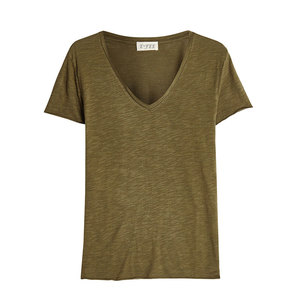 Bulk Wholesale Design Blank Distressed Women Sports V Neck T Shirts