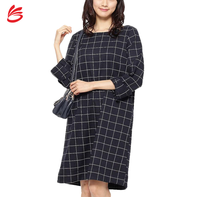 3bb969e6345 Fashionable White and Black Checked Round Neck Womens Tunic Dresses with  Folded Cuffs