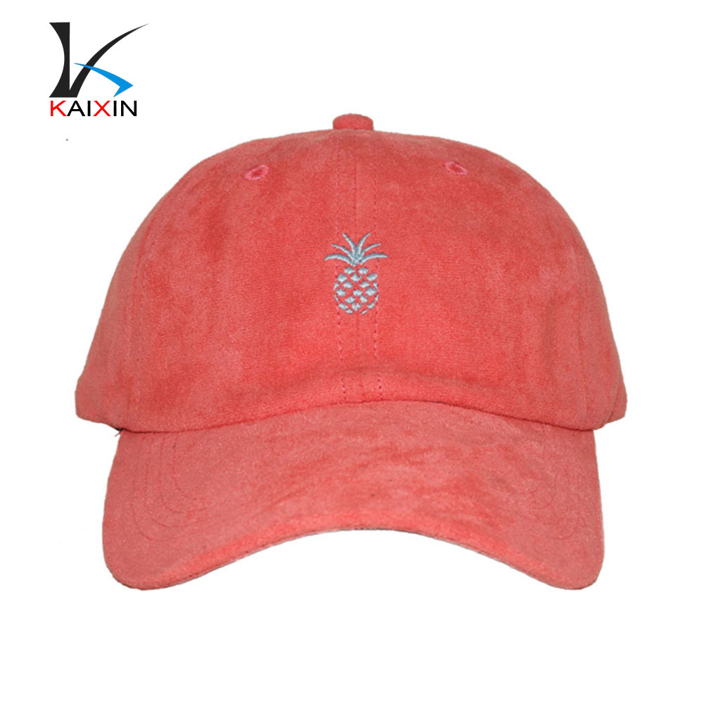 wholesale suede embroidered 6 panel promotional baseball cap