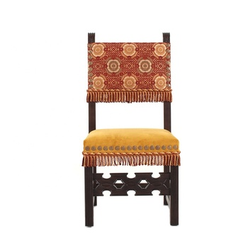 Artful Colors Fabric Covered Living Room Furniture  Exotic Wood Dressing Chair