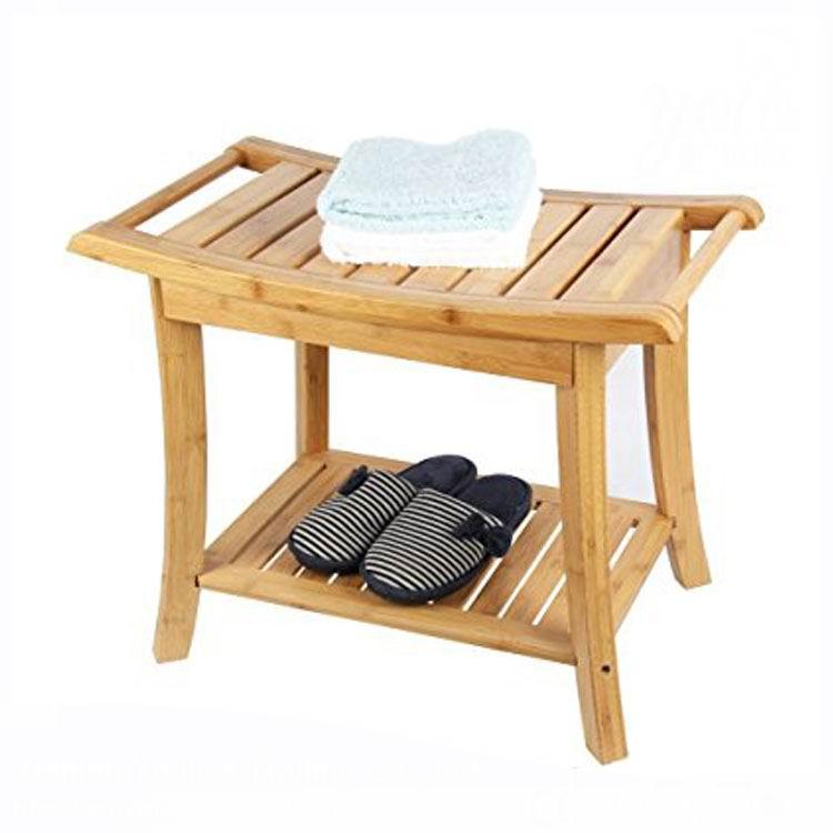 Bamboo Shower Bench,Spa Seat With 2-tire Storage Racks Shelf - Buy ...