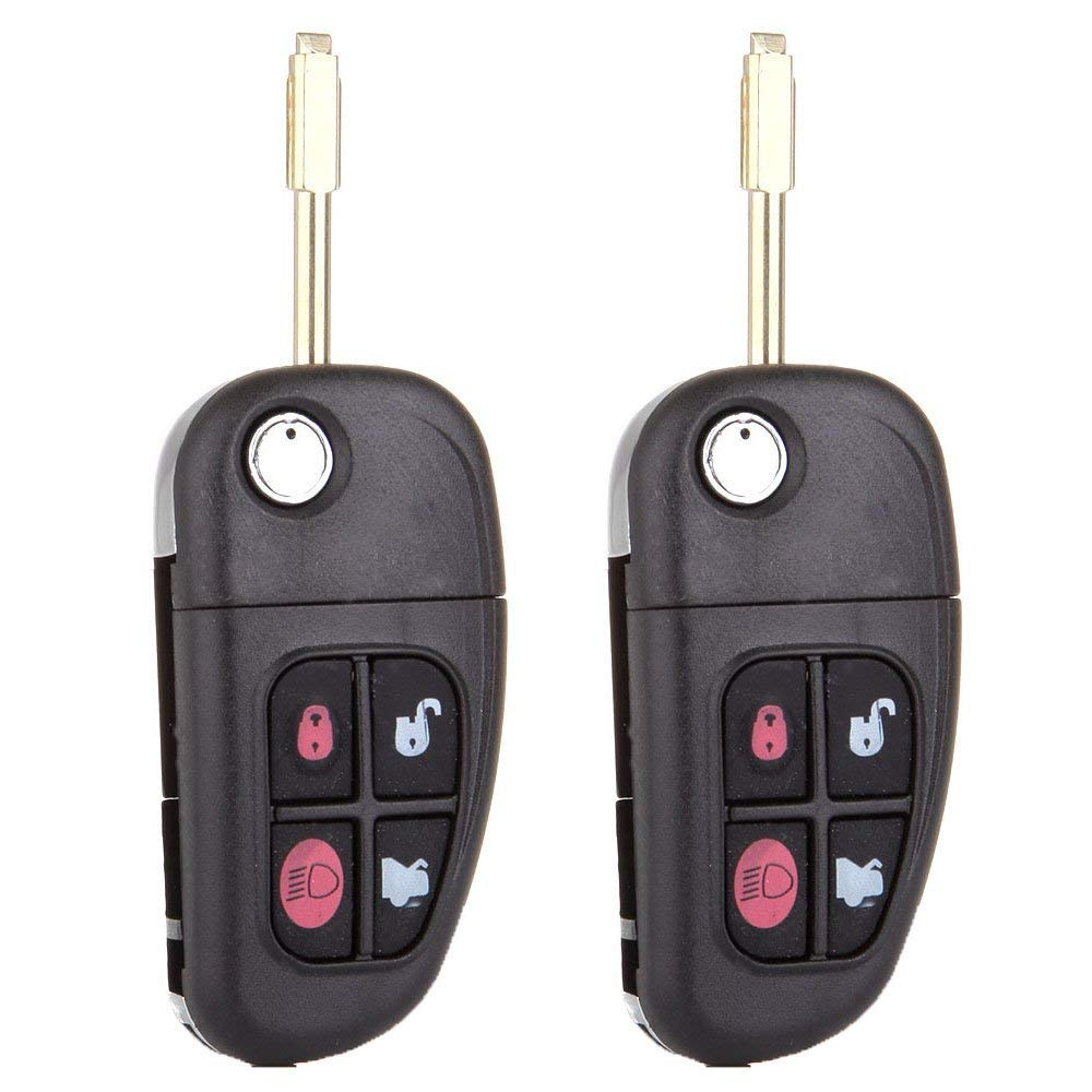 cciyu Replacement Keyless Entry Remote Car Key Fob Clicker Transmitter Alarm 2 X 4 Buttons Replacement fit for Jaguar S-Type/X-Type/XJ8 NHVWB1U241