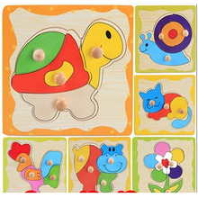 2016 New Free Shipping 8 Styles Wooden Kids Jigsaw Puzzles Toys With Animals Pattern For Children Education And Learning MBF4