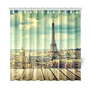 InterestPrint Wooden Table Eiffel Tower in Paris Custom Home Decor 72 X 72 Inches Polyester Fabric Shower Curtain Bathroom Sets
