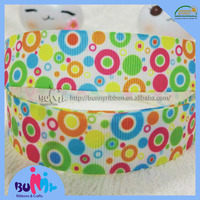 "7/8"" rainbow color dots printed grosgrain ribbons 100% polyester"
