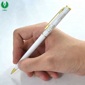 Graceful Elegant Noble Pure White Ballpoint Pen,Ball Pen With Clip Stainless Steel Copper