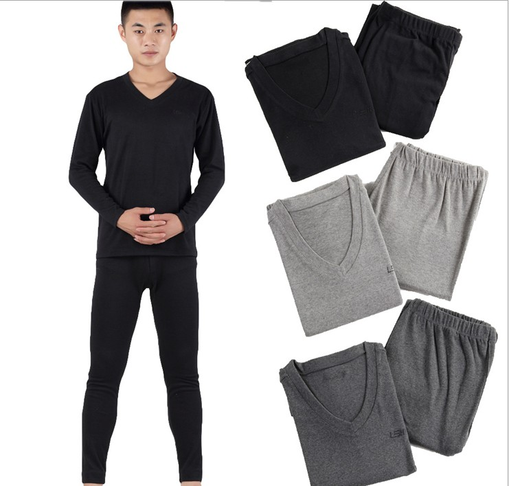 Male extra large plus size plus size 100% V-neck cotton long johns long johns thermal underwear set the elderly cotton sweater