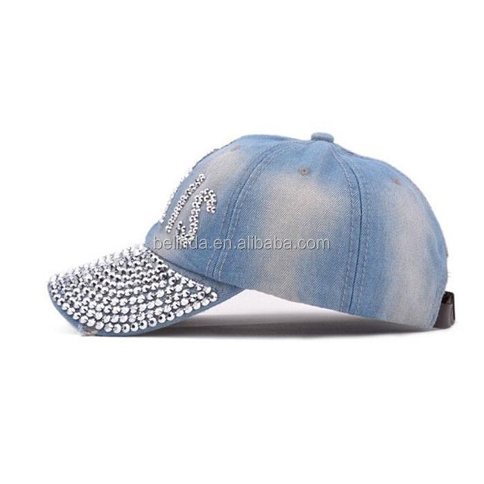 7b6931d2e6b Autumn Crystal PRAIS Drill Fashion Adjustable Baseball Cap Rhinestones Hat  Jean Basecall Denim Caps Snapback Women Sun Hat