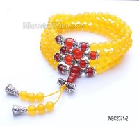 2015 Natural gemstones 108 pcs yellow chalcedony beaded buddhist rosary muslim prayer beads bracelet