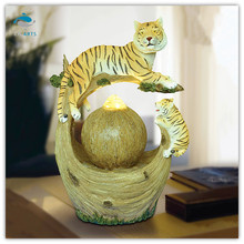 Natural style decorative items for living room two tigers water ball fountain