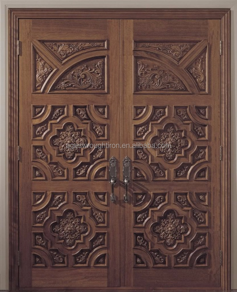 Guangzhou Wrought Iron Door Grill Designs Solid Wood Door