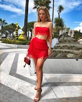 2018 New Arrival Women Two Piece Set Tassel Sexy Summer Dresses ... 0dc4efbc6f72