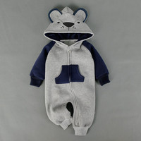 SEV.WEN Baby Clothing Fox Bear Rompers Newborns Body Suit Kid Clothes Boy Girl Jumpsuit Romper Hooded Warm Cotton Infant Overall