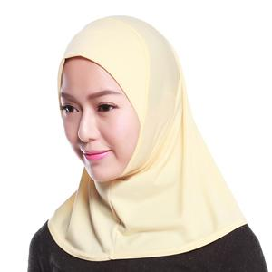 Fashionable 96*82cm Solid Color Scarf One Piece 95%polyester 5%spandex Hijab Muslim Women Head Turban