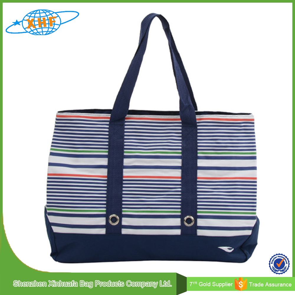 Alibaba China Wholesale Fashion Strip Canvas Beach Bag