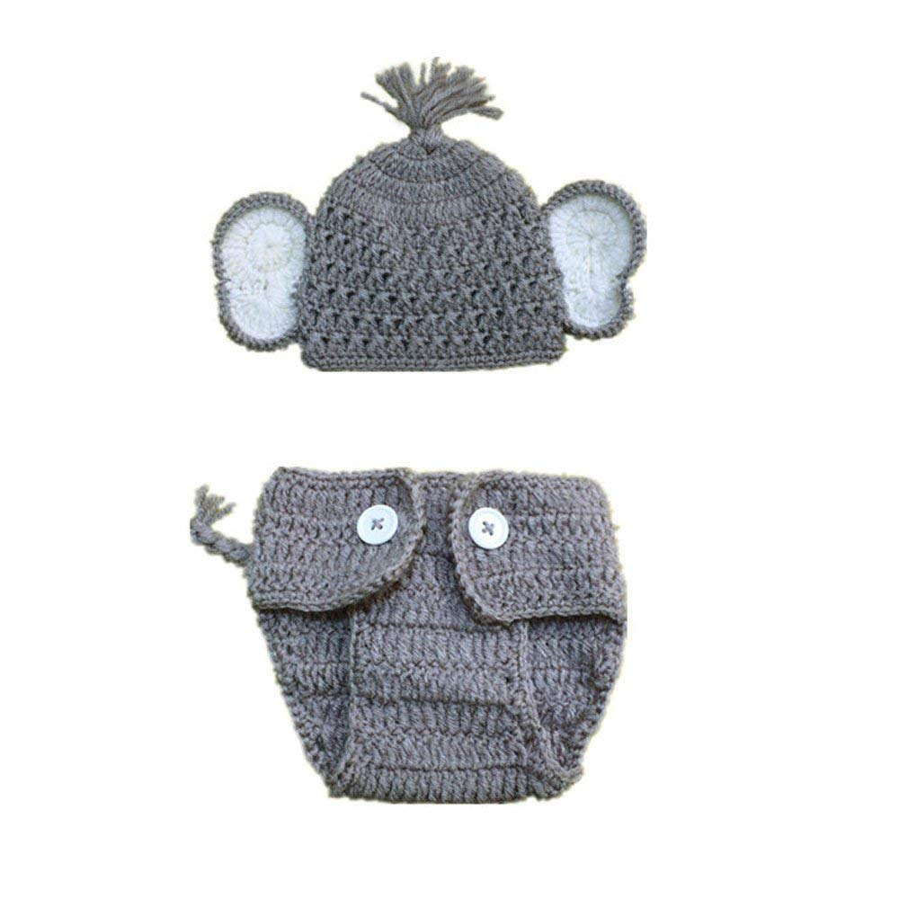 Jshuang Unisex 2pcs Newborn Stretchy Knit Newborn Wool Knit Small Elephant Style Men and Women Models Photography Hat + Pants Two-Piece,0-3 Months (Gray B)
