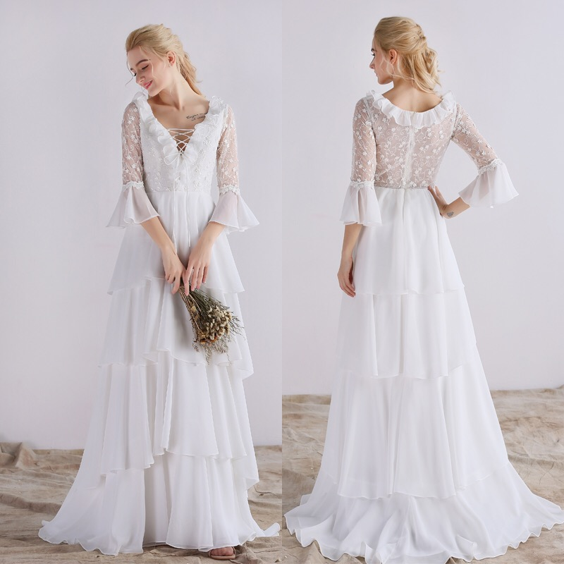 Boho Lace Wedding Dress Simple White Sleeve Long Wedding Dress - Buy ...
