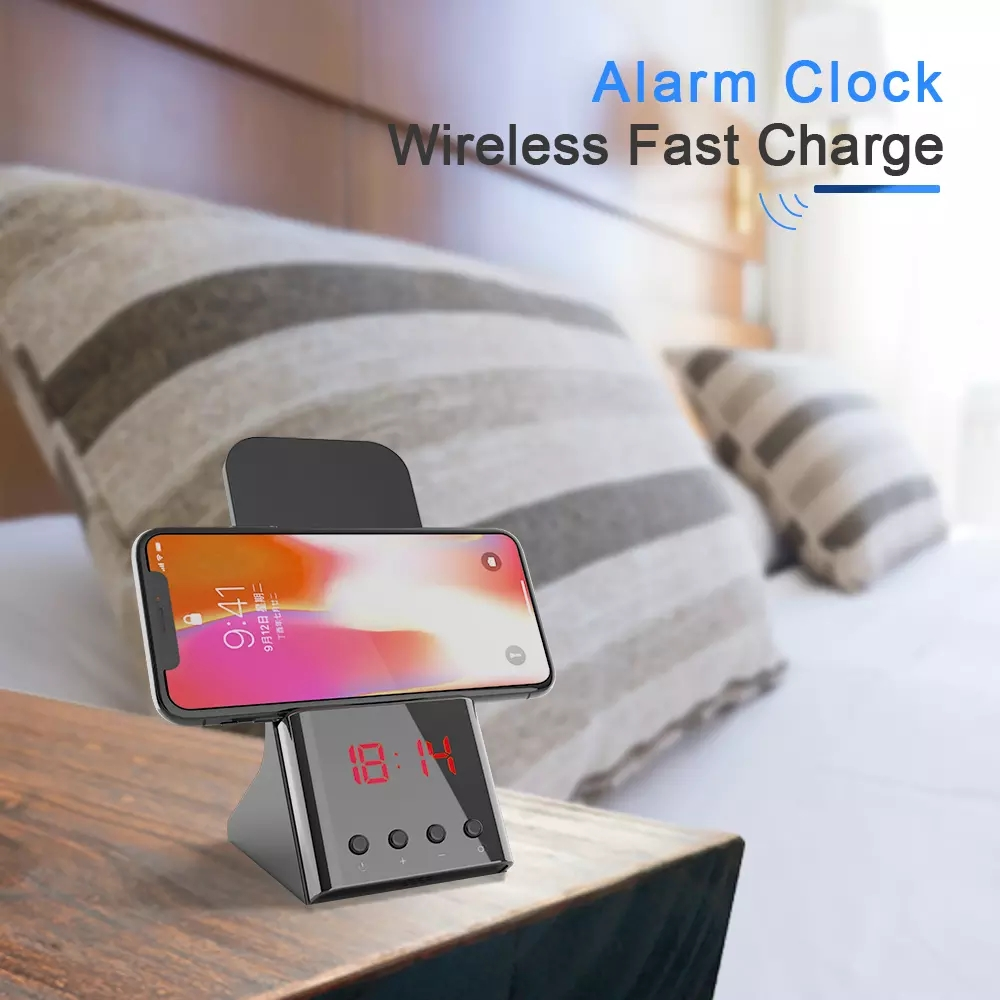 factory new led black 10w qi wireless charging alarm clock