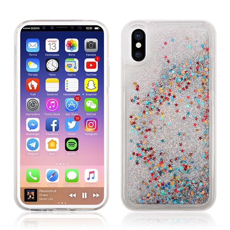 for iphone8 case Silicone Glitter Bling Back Cover Case for i8 Cover TPU Transparent Side Phone Cases