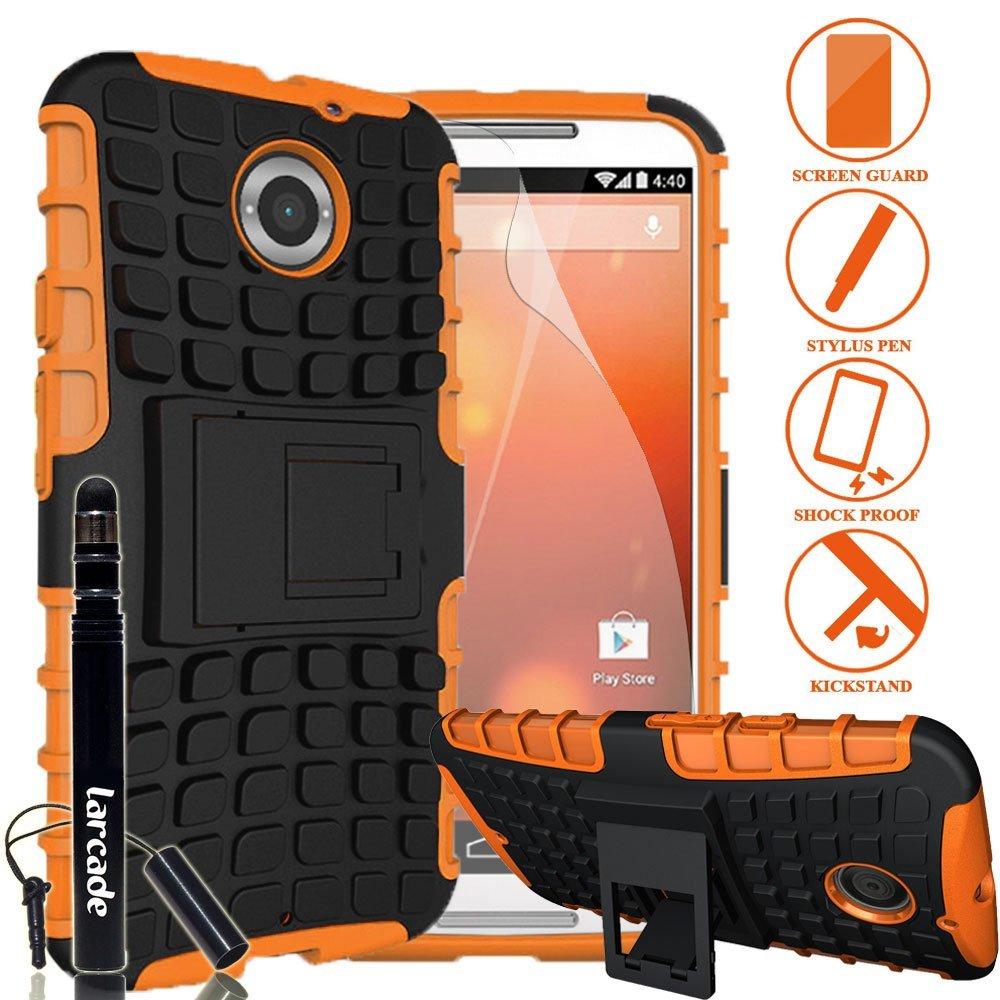 LARCADE (TM) 3 in 1 Bundle - Motorola Moto X (2nd Gen.) Phone 2014 Release - Heavy Duty Grenade Armor Case with Kickstand - Orange (Include Premium Screen Protector & Sensitive Cap Stylus Pen by LARCADE) - Not Fit Moto X Phone (1st Gen.) 2013 Release