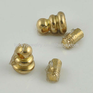 factory direct price wholesale jewelry findings and accessory brass metal end caps for leather cord