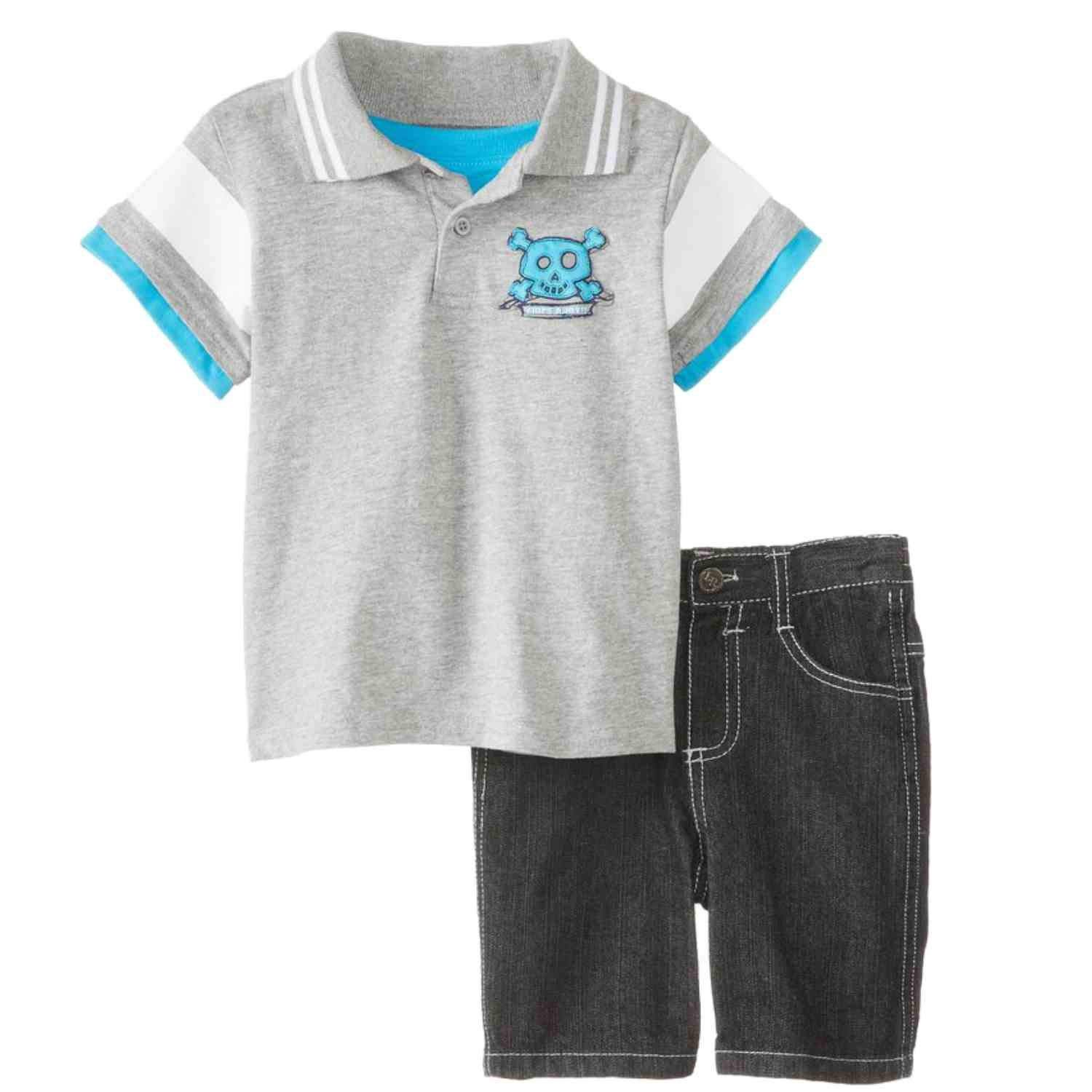c1e554fa Get Quotations · Little Rebels Infant Boys 2 Piece Pirate Ship Polo T-Shirt  & Denim Shorts