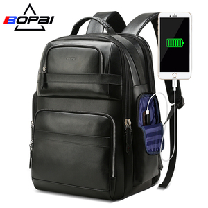 BOPAI Luxury Genuine leather backpack Travel Top Layer Cow Leather Bag Men USB Business Laptop Backpacks