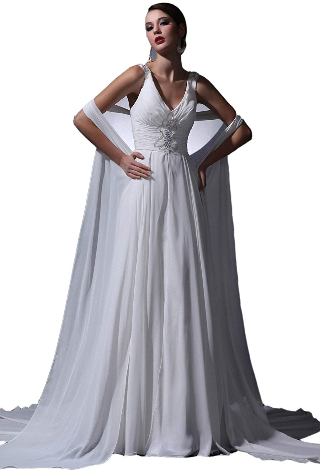 Get Quotations · Angel Formal Dresses Women V Neck Crystal Beading Chapel  Train Wedding Dresses 3a20a31afd8f