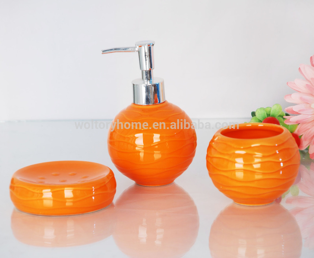 Pumpkin Orange Ceramic Bath Gift Set Bathroom Accessories