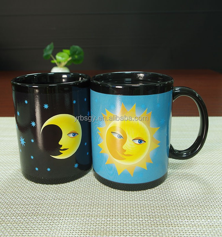Celestial SUN MOON FACE TRANSFORMING COLOR CHANGE COFFEE CUP 11 oz Mug