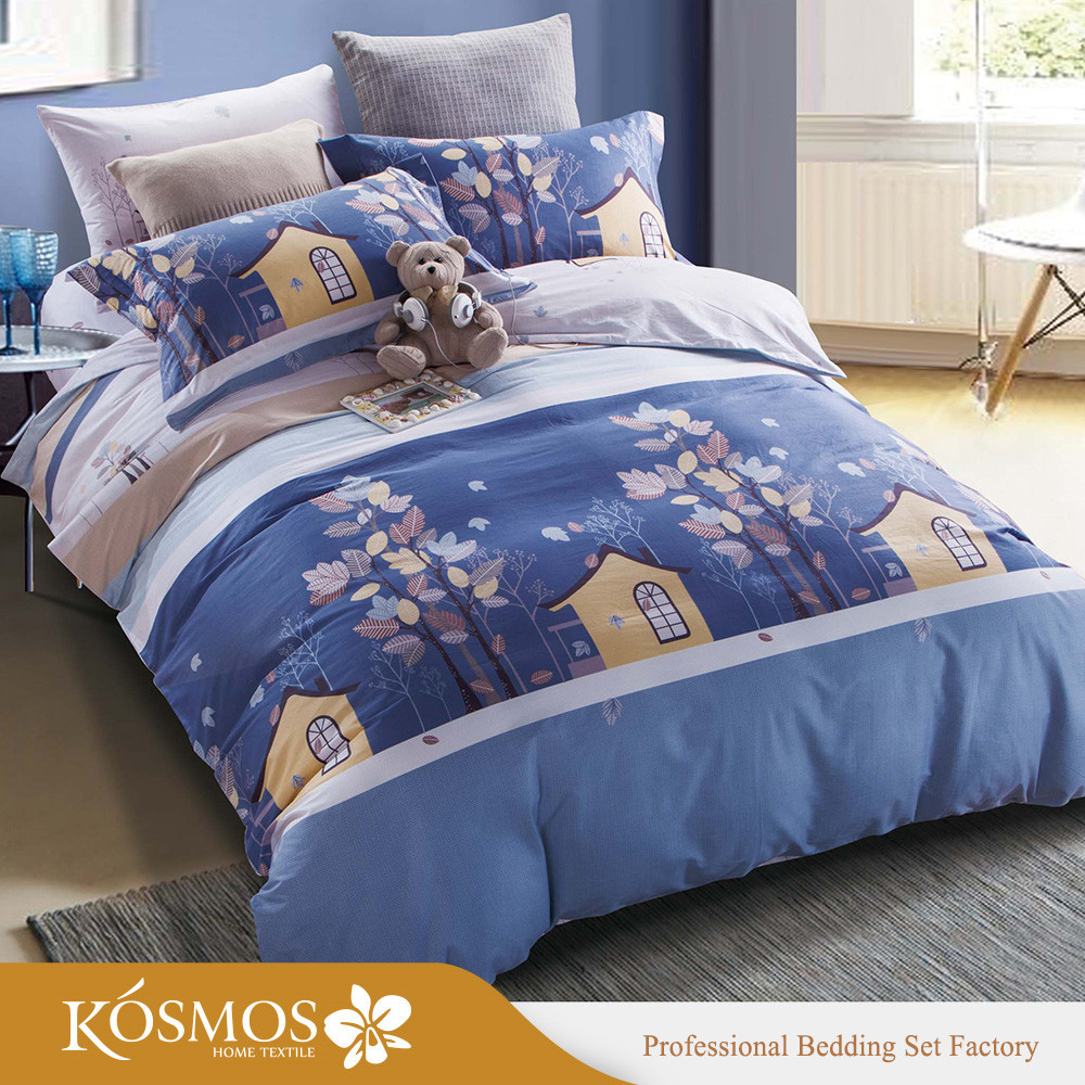 4 piece customized printed bedding set cotton bed sheets for kids