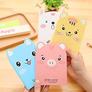 Katoot@ 4pcs/lot Cute animal notebook kawaii pig notepad Portable notebooks diary stationery office school supply canetas escolar