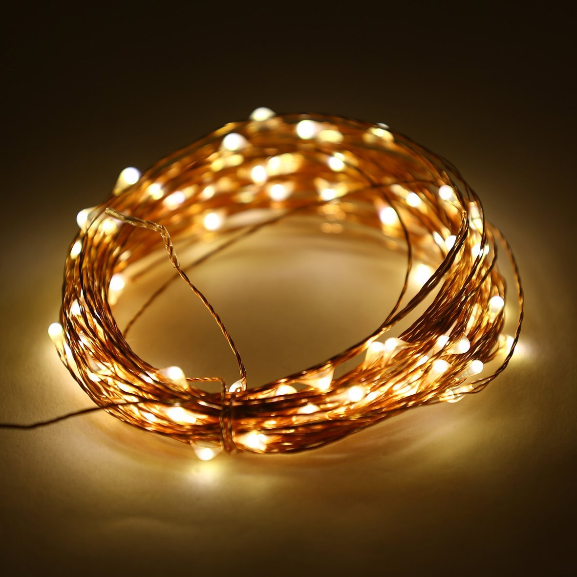 E-Age Indoor and Outdoor Waterproof Battery Operated String Lights on 33 Ft Long Ultra Thin Copper String Wire with Timer (Warm White)