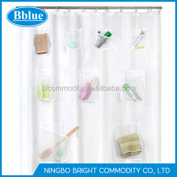 Mesh Pockets Shower Organizer Curtain Hanging Bath