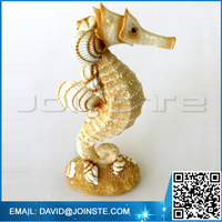 Resin Single Seahorse Figurine with Sand and Shells - Beach Decor