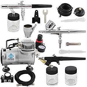 HJLWST OPHIR 3-Airbrush Gun Spray Air Brush Kit Dual & Single Action Air Compressor Set for Hobby Body Painting