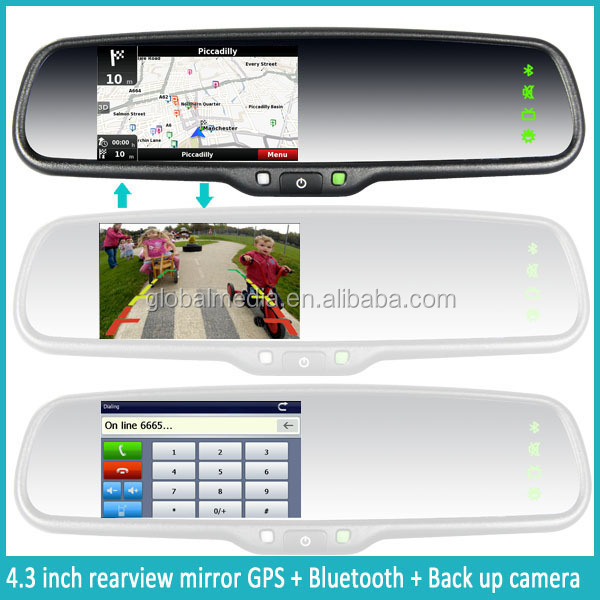 Car Bluetooth Rearview Mirror With Gps,Touch Key,Backup Camera ...