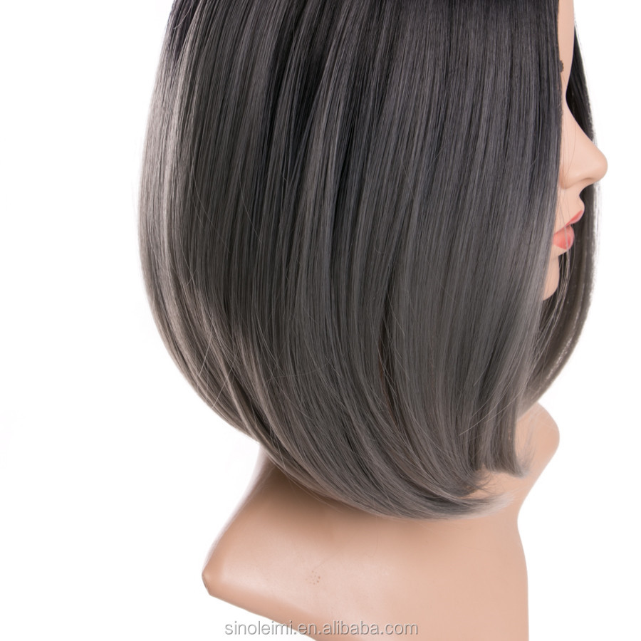 Wig Sintetis Bob Potong Rambut Pendek Dengan Warna Hitam Ombre Abu Abu Gelap Buy Potongan Rambut Dengan Warna Pendek Pendek Sintetis Wig Sintetis Product On Alibaba Com