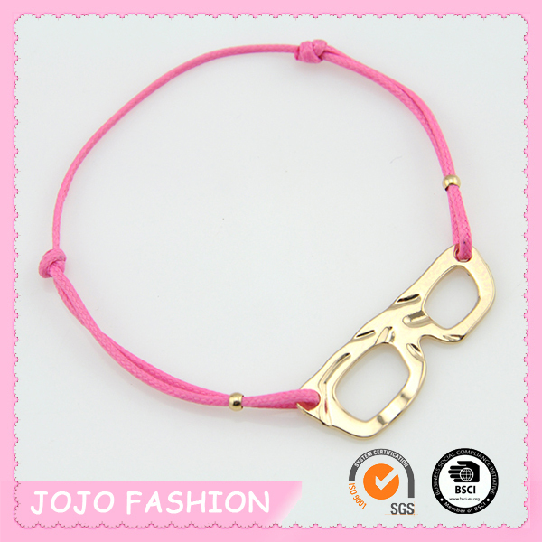 Pink Nautical Knotted Cord String Cross Stretch Bracelet with Eyeglasses Model