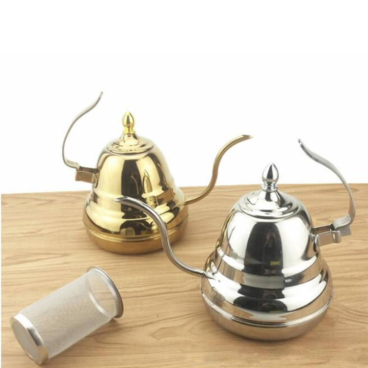 Silver and gold coffee stainless steel tea pot with infuser