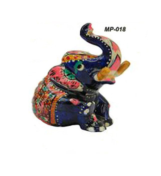 Exclusive Indian Metal Painting Sitting Elephant Home Accessories