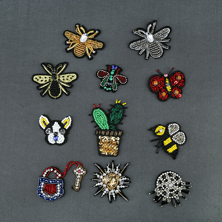 Beaded applique patch fashion 3d embroidered patches for clothing