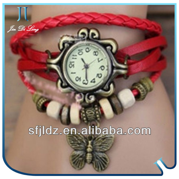 Mini Face Metal Vogue Lady's Bracelet Leather Watches Hot Sale Beauriful Girls Watch